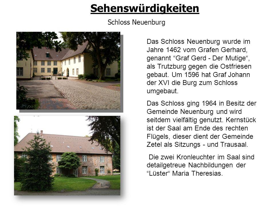 """Sehenswürdigkeiten Schloss Neuenburg Das Schloss Neuenburg wurde im Jahre 1462 vom Grafen Gerhard, genannt """"Graf Gerd - Der Mutige"""", als Trutzburg geg"""