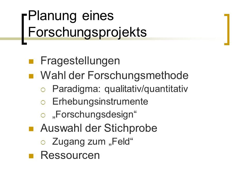 "Planung eines Forschungsprojekts Fragestellungen Wahl der Forschungsmethode  Paradigma: qualitativ/quantitativ  Erhebungsinstrumente  ""Forschungsdesign Auswahl der Stichprobe  Zugang zum ""Feld Ressourcen"