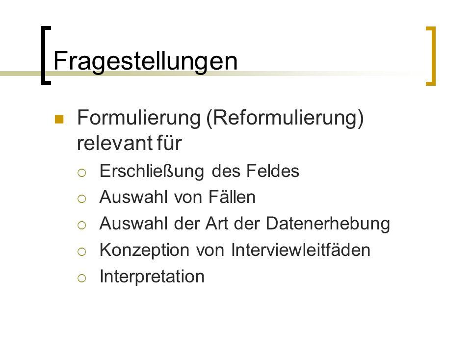 Fragestellungen Formulierung (Reformulierung) relevant für  Erschließung des Feldes  Auswahl von Fällen  Auswahl der Art der Datenerhebung  Konzeption von Interviewleitfäden  Interpretation