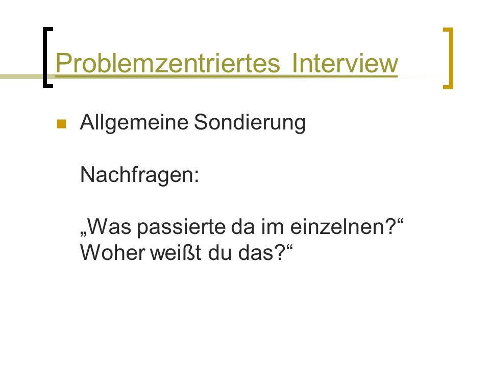 """Allgemeine Sondierung Nachfragen: """"Was passierte da im einzelnen Woher weißt du das Problemzentriertes Interview"""