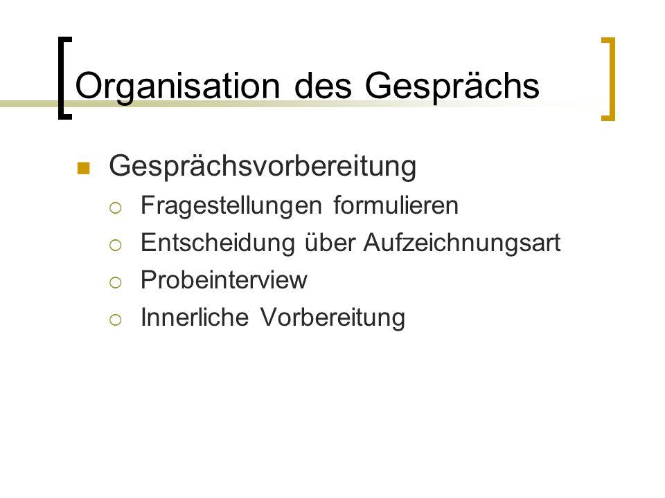 Organisation des Gesprächs Gesprächsvorbereitung  Fragestellungen formulieren  Entscheidung über Aufzeichnungsart  Probeinterview  Innerliche Vorbereitung