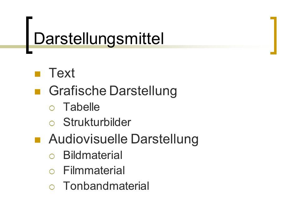 Darstellungsmittel Text Grafische Darstellung  Tabelle  Strukturbilder Audiovisuelle Darstellung  Bildmaterial  Filmmaterial  Tonbandmaterial