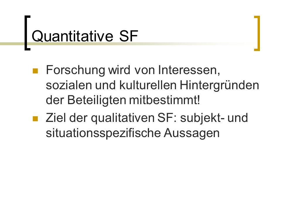 Kennzeichen qualitativer SF Gegenstandsangemessenheit von Methoden und Theorien  Berücksichtigung v.