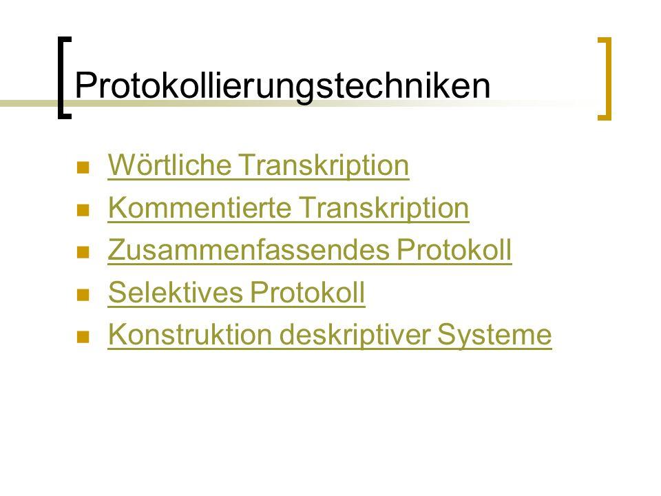 Protokollierungstechniken Wörtliche Transkription Kommentierte Transkription Zusammenfassendes Protokoll Selektives Protokoll Konstruktion deskriptiver Systeme