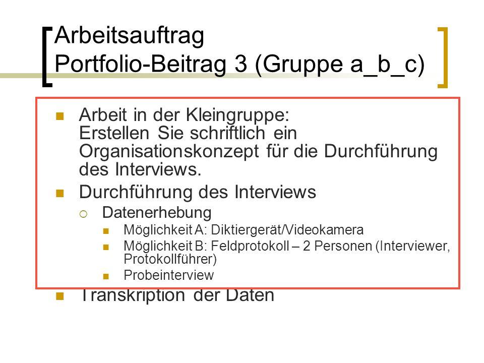 Arbeitsauftrag Portfolio-Beitrag 3 (Gruppe a_b_c) Arbeit in der Kleingruppe: Erstellen Sie schriftlich ein Organisationskonzept für die Durchführung des Interviews.