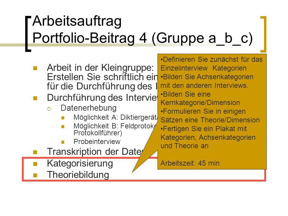 Arbeitsauftrag Portfolio-Beitrag 4 (Gruppe a_b_c) Arbeit in der Kleingruppe: Erstellen Sie schriftlich ein Organisationskonzept für die Durchführung des Interviews.