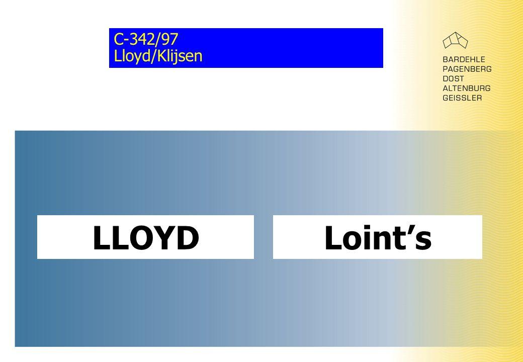 C-342/97 Lloyd/Klijsen LLOYDLoint's
