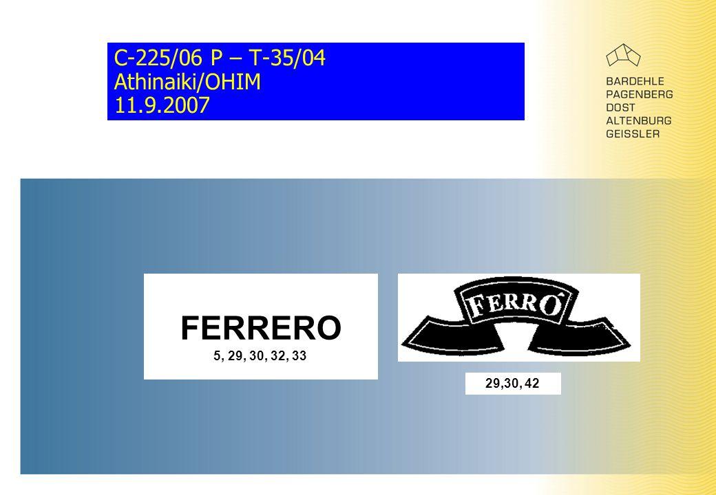 C-225/06 P – T-35/04 Athinaiki/OHIM 11.9.2007 FERRERO 5, 29, 30, 32, 33 29,30, 42