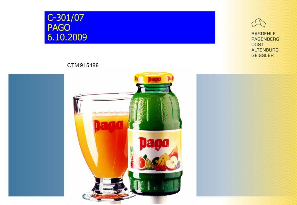 C-301/07 PAGO 6.10.2009 CTM 915488
