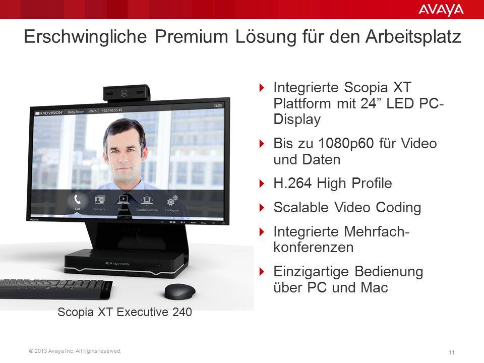"""© 2013 Avaya Inc. All rights reserved. 11 Erschwingliche Premium Lösung für den Arbeitsplatz  Integrierte Scopia XT Plattform mit 24"""" LED PC- Display"""