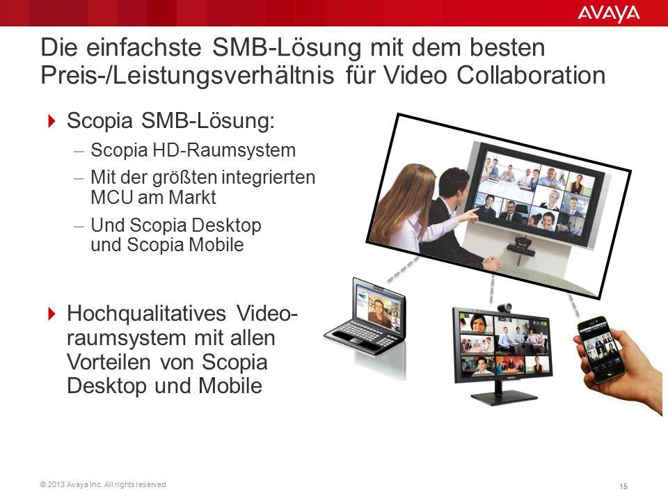 © 2013 Avaya Inc. All rights reserved. 15 Die einfachste SMB-Lösung mit dem besten Preis-/Leistungsverhältnis für Video Collaboration  Scopia SMB-Lös