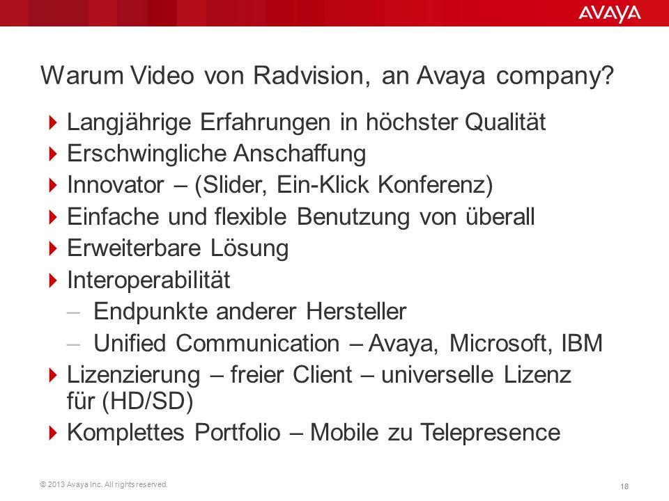 © 2013 Avaya Inc. All rights reserved. 18 Warum Video von Radvision, an Avaya company?  Langjährige Erfahrungen in höchster Qualität  Erschwingliche