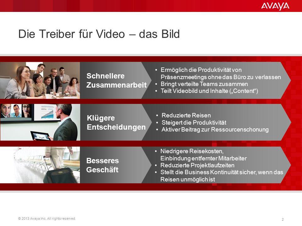 © 2013 Avaya Inc. All rights reserved. 2 Die Treiber für Video – das Bild Schnellere Zusammenarbeit Ermöglich die Produktivität von Präsenzmeetings oh