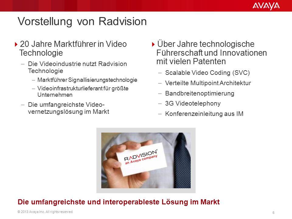 © 2013 Avaya Inc. All rights reserved. 6  20 Jahre Marktführer in Video Technologie –Die Videoindustrie nutzt Radvision Technologie –Marktführer Sign