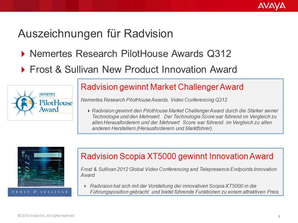 © 2013 Avaya Inc. All rights reserved. 88 Auszeichnungen für Radvision  Nemertes Research PilotHouse Awards Q312  Frost & Sullivan New Product Innov