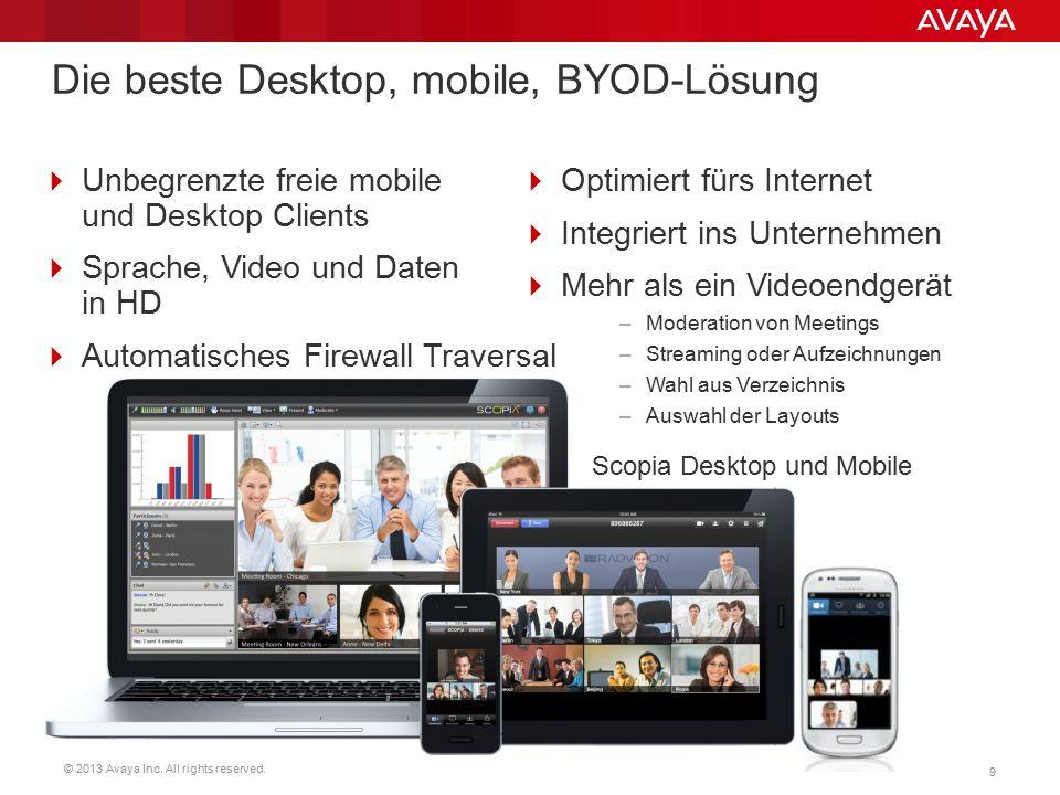 © 2013 Avaya Inc. All rights reserved. 9 Die beste Desktop, mobile, BYOD-Lösung  Unbegrenzte freie mobile und Desktop Clients  Sprache, Video und Da