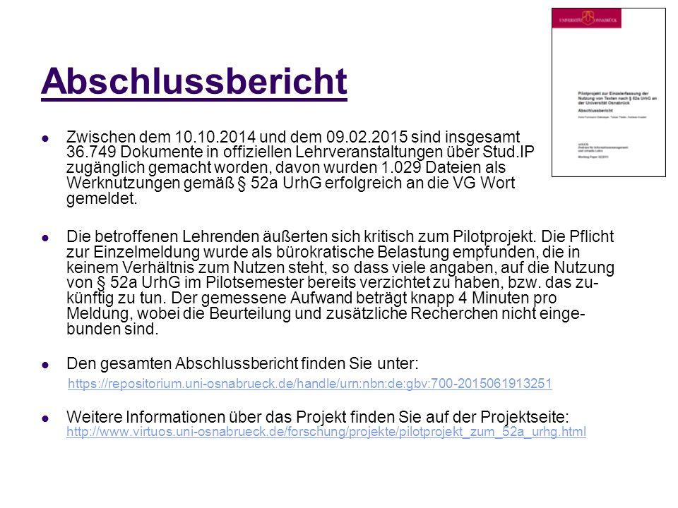 Abschlussbericht Zwischen dem 10.10.2014 und dem 09.02.2015 sind insgesamt 36.749 Dokumente in offiziellen Lehrveranstaltungen über Stud.IP zugänglich