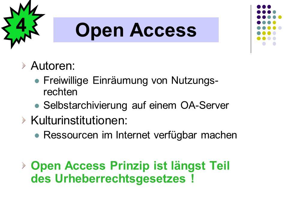 Open Access Autoren: Freiwillige Einräumung von Nutzungs- rechten Selbstarchivierung auf einem OA-Server Kulturinstitutionen: Ressourcen im Internet v