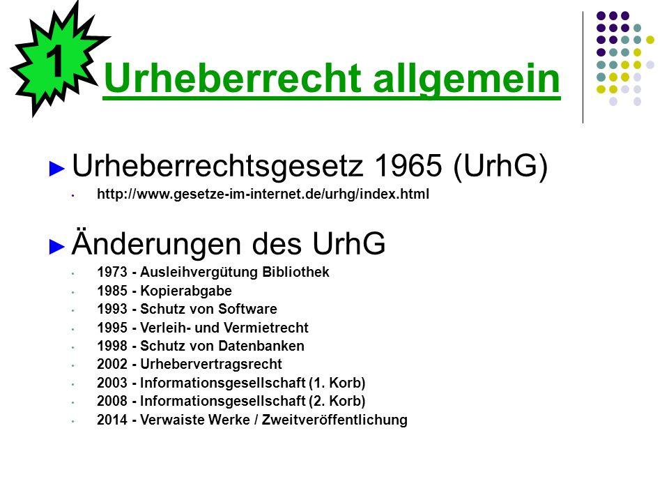 Urheberrecht allgemein ► Urheberrechtsgesetz 1965 (UrhG) http://www.gesetze-im-internet.de/urhg/index.html ► Änderungen des UrhG 1973 - Ausleihvergütu