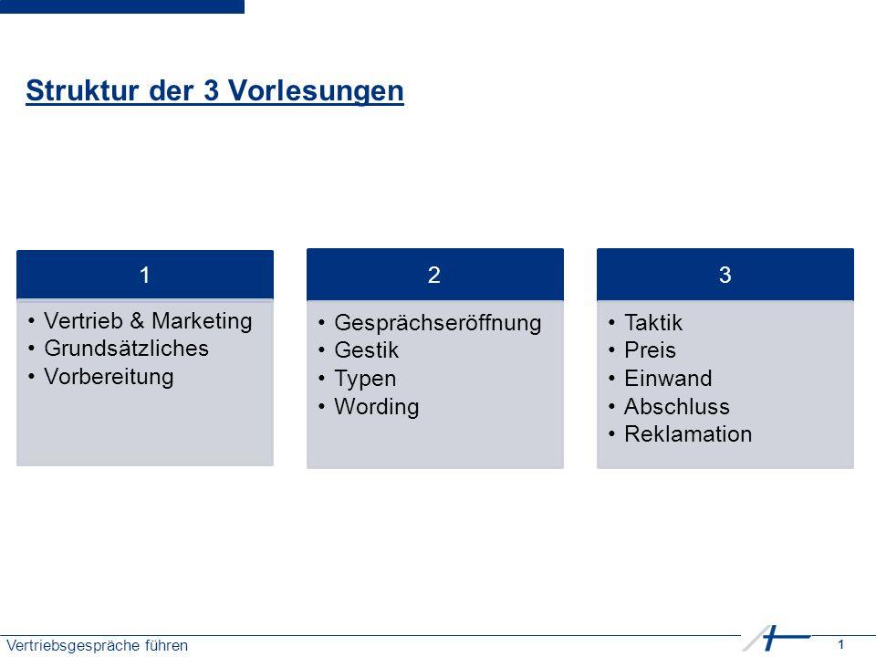 1 Vertriebsgespräche führen Struktur der 3 Vorlesungen 1 Vertrieb & Marketing Grundsätzliches Vorbereitung 2 Gesprächseröffnung Gestik Typen Wording 3 Taktik Preis Einwand Abschluss Reklamation