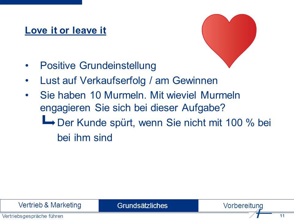 11 Vertriebsgespräche führen Love it or leave it Positive Grundeinstellung Lust auf Verkaufserfolg / am Gewinnen Sie haben 10 Murmeln.