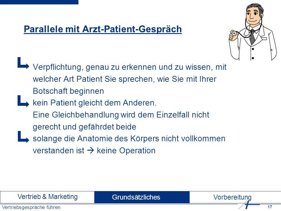 17 Vertriebsgespräche führen Parallele mit Arzt-Patient-Gespräch Verpflichtung, genau zu erkennen und zu wissen, mit welcher Art Patient Sie sprechen, wie Sie mit Ihrer Botschaft beginnen kein Patient gleicht dem Anderen.