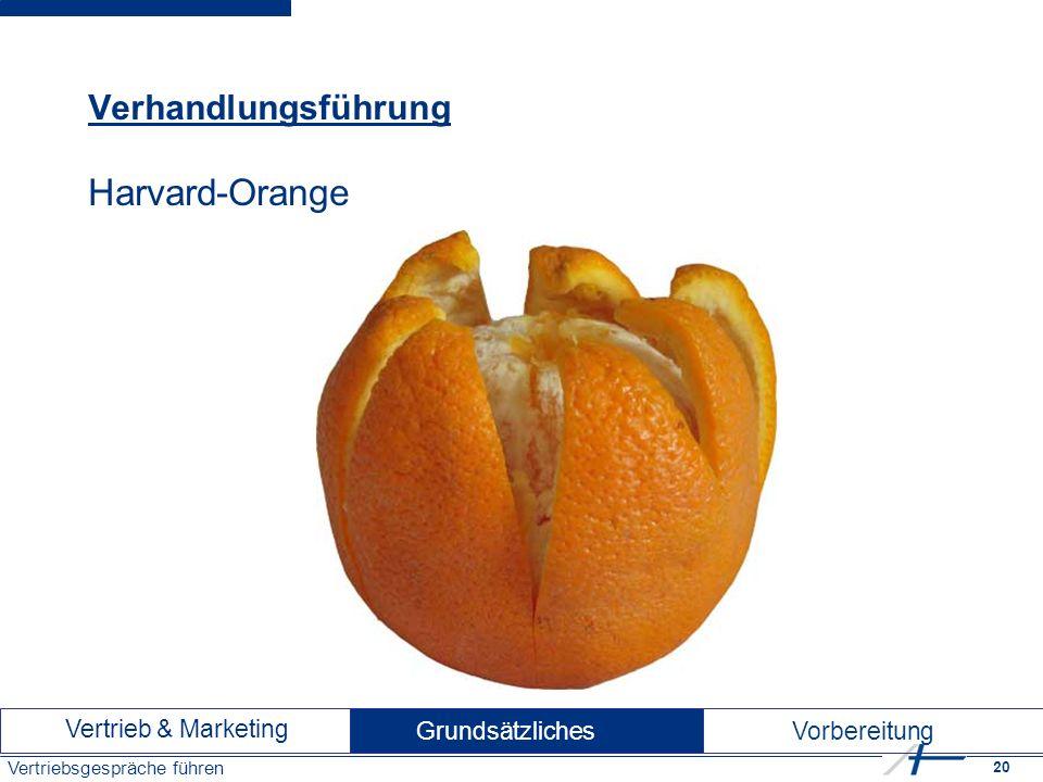 20 Vertriebsgespräche führen Verhandlungsführung Harvard-Orange Vertrieb & Marketing Vorbereitung Grundsätzliches