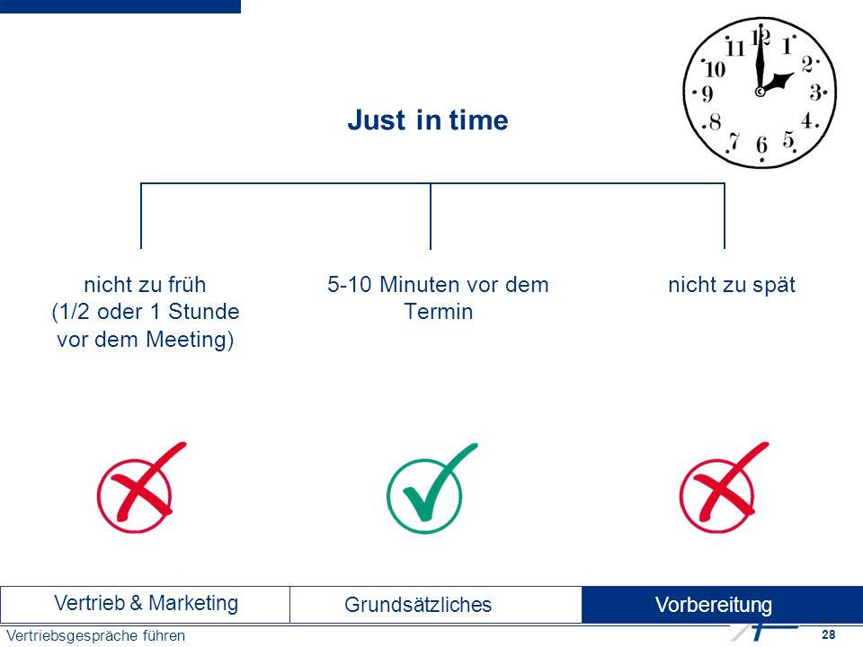 28 Vertriebsgespräche führen Just in time nicht zu früh (1/2 oder 1 Stunde vor dem Meeting) nicht zu spät 5-10 Minuten vor dem Termin Vertrieb & Marketing Vorbereitung Grundsätzliches