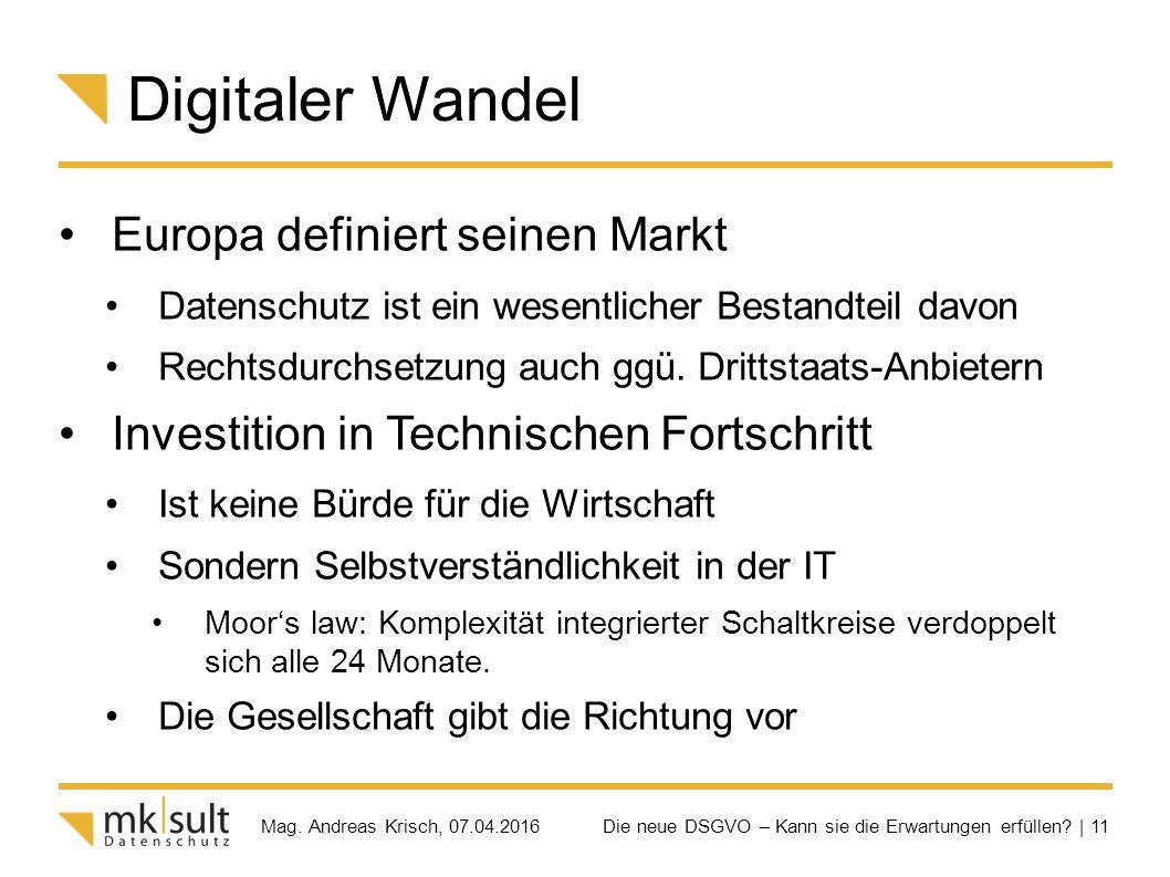 Die neue DSGVO – Kann sie die Erwartungen erfüllen? | 11 Mag. Andreas Krisch, 07.04.2016 Digitaler Wandel Europa definiert seinen Markt Datenschutz is