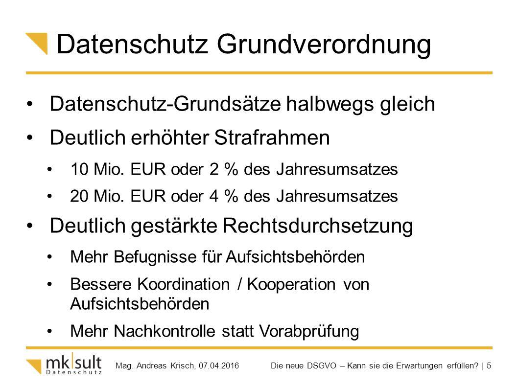Die neue DSGVO – Kann sie die Erwartungen erfüllen? | 5 Mag. Andreas Krisch, 07.04.2016 Datenschutz Grundverordnung Datenschutz-Grundsätze halbwegs gl