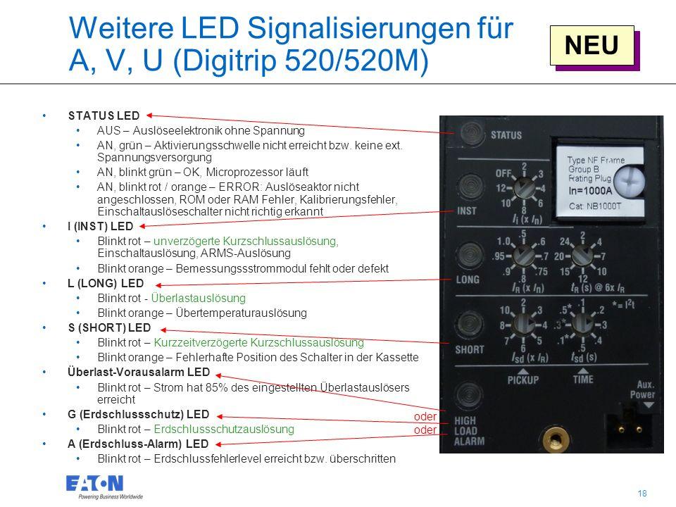 18 Weitere LED Signalisierungen für A, V, U (Digitrip 520/520M) STATUS LED AUS – Auslöseelektronik ohne Spannung AN, grün – Aktivierungsschwelle nicht erreicht bzw.