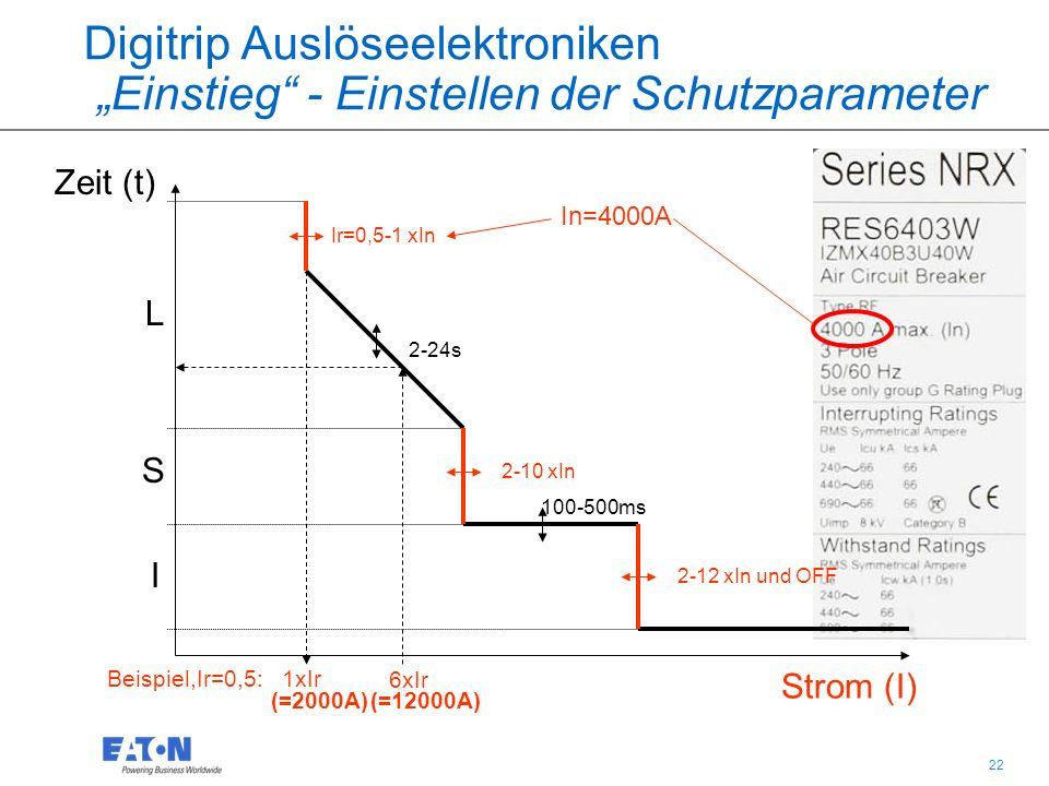 """22 Digitrip Auslöseelektroniken """"Einstieg - Einstellen der Schutzparameter Zeit (t) Strom (I) L S I 100-500ms 2-24s Ir=0,5-1 xIn 2-10 xIn 2-12 xIn und OFF In=4000A 6xIr Beispiel,Ir=0,5: 1xIr (=2000A) (=12000A)"""