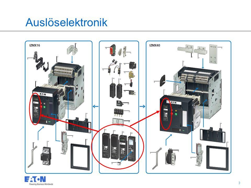 14 IZMX16 und IZMX40 Leistungsschalter Digitrip Auslöseelektroniken Reset-Knopf: zeigt an, wenn eine Schutzfunktion der Auslöseelektronik abgeschaltet hat Sicherheit: Muss vor dem Wiedereinschalten quittiert (Reset) werden Optional: - Automatisches RESET - Fern RESET (Magnetspule, unterschiedliche Spg.) NEU Auslöseelektroniken: Gleiche Funktionen für alle Auslöser
