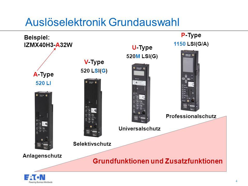 4 4 A-Type 520 LI V-Type 520 LSI(G) U-Type 520M LSI(G) P-Type 1150 LSI(G/A) Grundfunktionen und Zusatzfunktionen Auslöselektronik Grundauswahl Beispiel: IZMX40H3-A32W Anlagenschutz Selektivschutz Universalschutz Professionalschutz