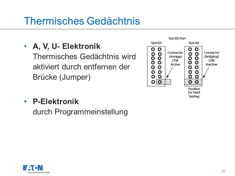 45 Thermisches Gedächtnis A, V, U- Elektronik Thermisches Gedächtnis wird aktiviert durch entfernen der Brücke (Jumper) P-Elektronik durch Programmeinstellung