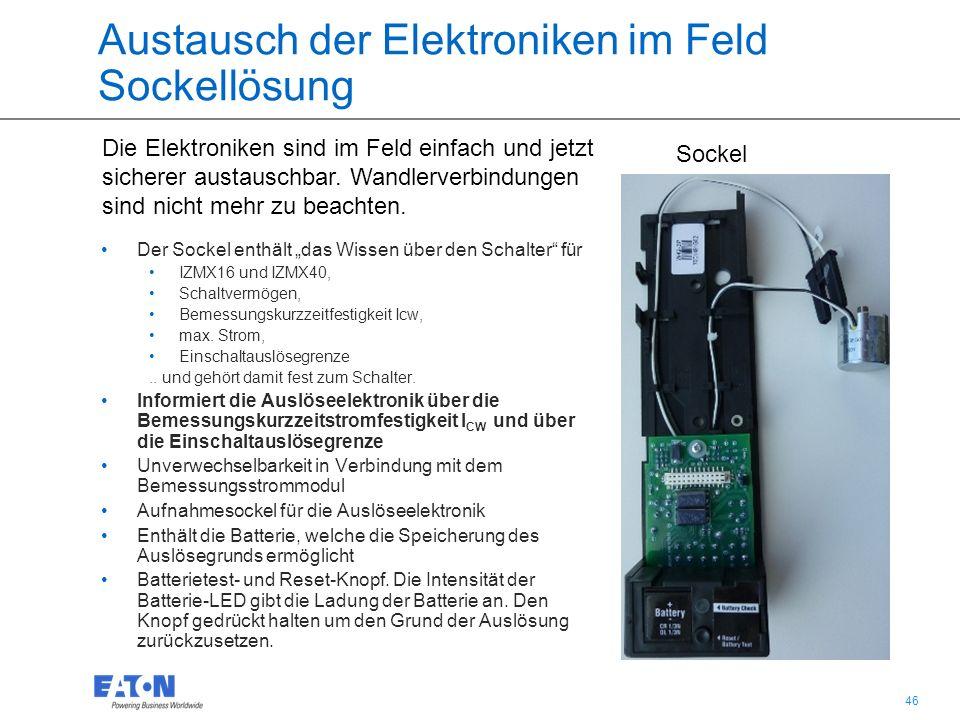 """46 Austausch der Elektroniken im Feld Sockellösung Der Sockel enthält """"das Wissen über den Schalter für IZMX16 und IZMX40, Schaltvermögen, Bemessungskurzzeitfestigkeit Icw, max."""
