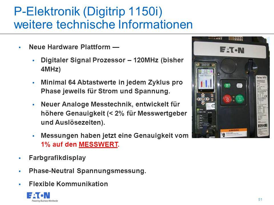 51  Neue Hardware Plattform —  Digitaler Signal Prozessor – 120MHz (bisher 4MHz)  Minimal 64 Abtastwerte in jedem Zyklus pro Phase jeweils für Strom und Spannung.