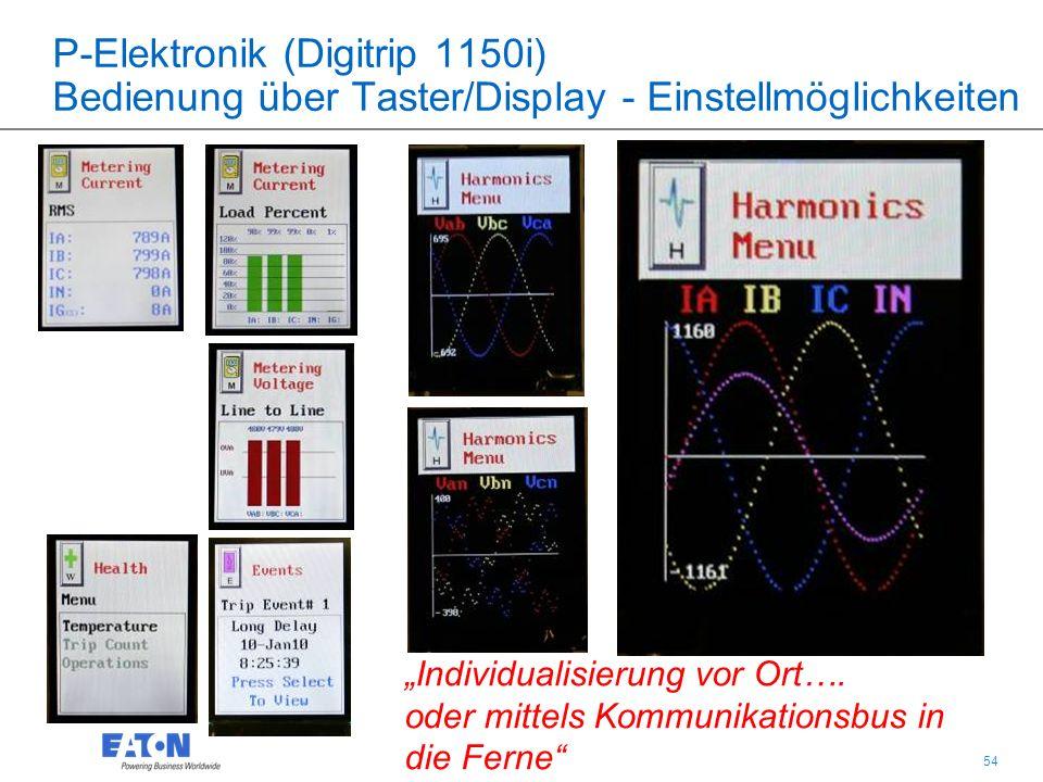 """54 P-Elektronik (Digitrip 1150i) Bedienung über Taster/Display - Einstellmöglichkeiten """"Individualisierung vor Ort…."""