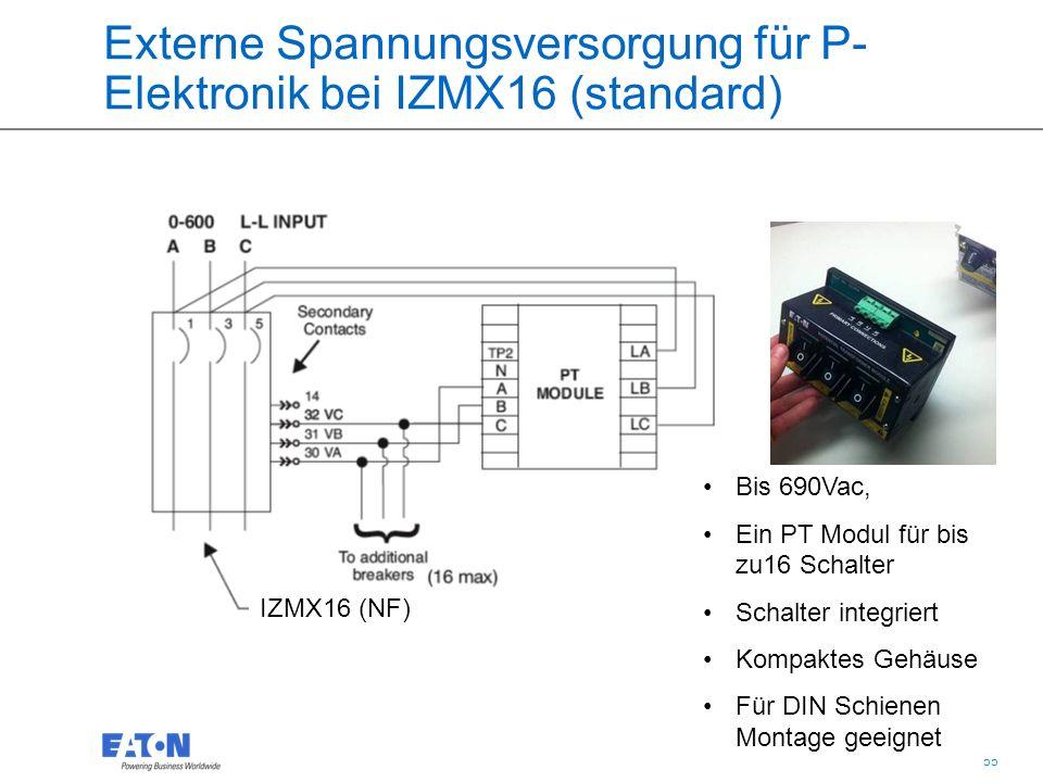 55 Externe Spannungsversorgung für P- Elektronik bei IZMX16 (standard) IZMX16 (NF) One PT module supplies 16 breaker Bis 690Vac, Ein PT Modul für bis zu16 Schalter Schalter integriert Kompaktes Gehäuse Für DIN Schienen Montage geeignet