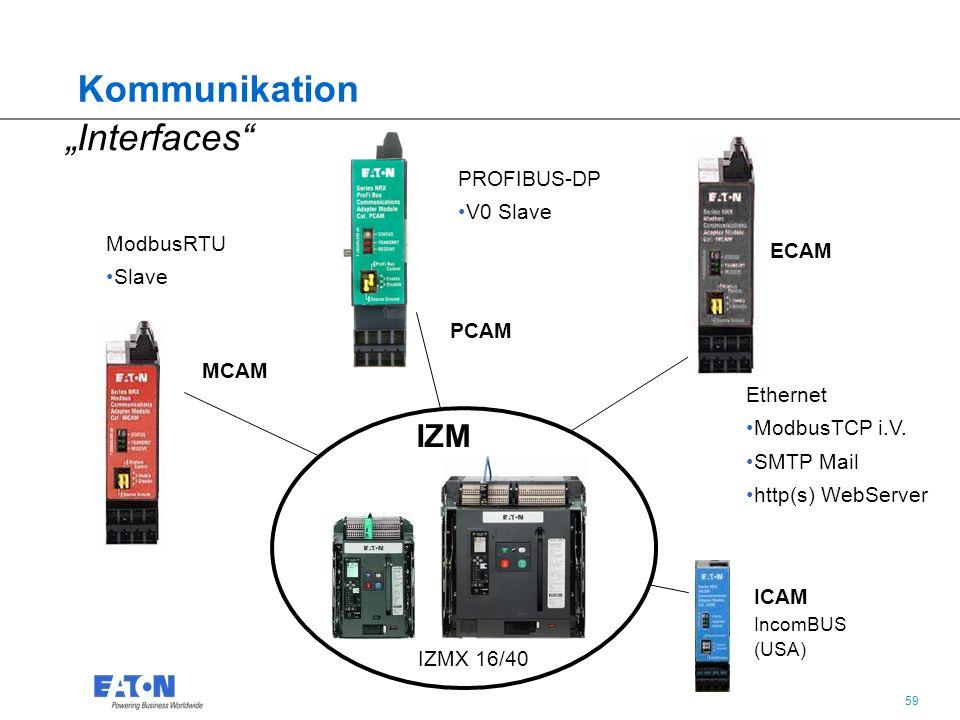 """59 """"Interfaces"""" ModbusRTU Slave PROFIBUS-DP V0 Slave Ethernet ModbusTCP i.V. SMTP Mail http(s) WebServer IZM IZMX 16/40 MCAM ECAM PCAM ICAM IncomBUS ("""