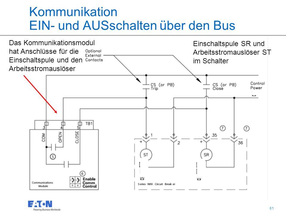 61 Kommunikation EIN- und AUSschalten über den Bus Das Kommunikationsmodul hat Anschlüsse für die Einschaltspule und den Arbeitsstromauslöser Einschaltspule SR und Arbeitsstromauslöser ST im Schalter