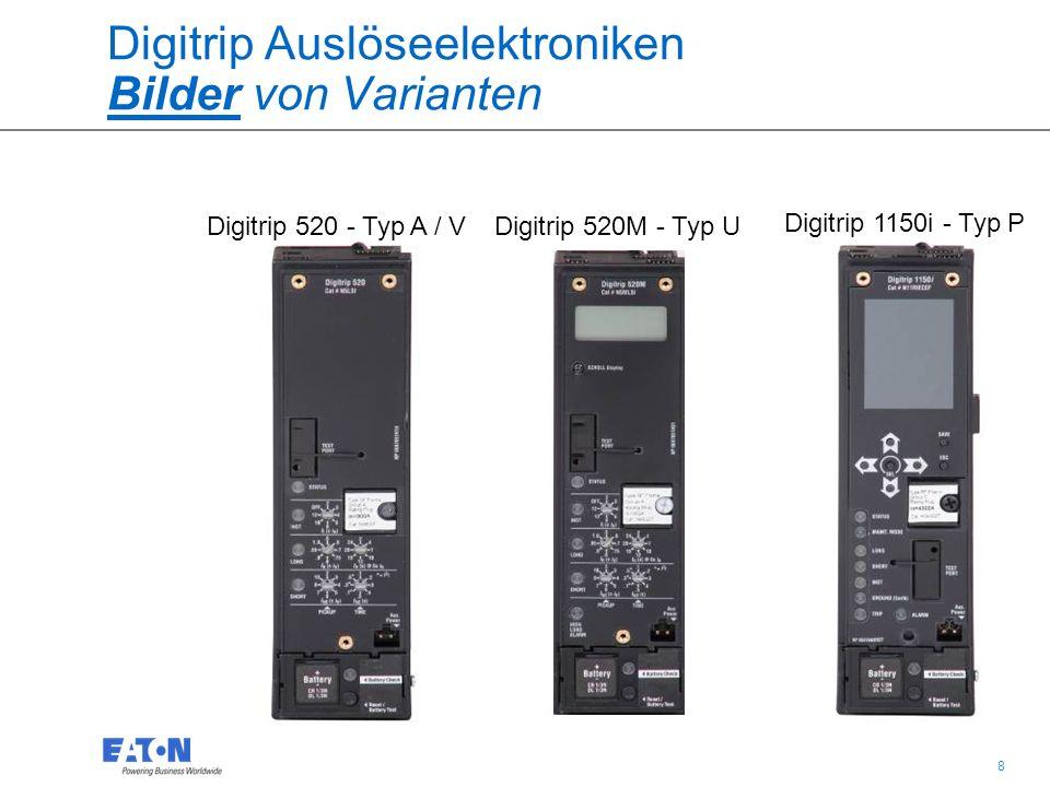 19 IZMX16 und IZMX40 Leistungsschalter Digitrip Auslöseelektroniken Auslöseelektroniken: Gleiche Funktionen für alle Auslöser Battery = Akku – damit kann die Auslöseursache nach Schalterauslösung über mehrere Tage abgerufen werden.