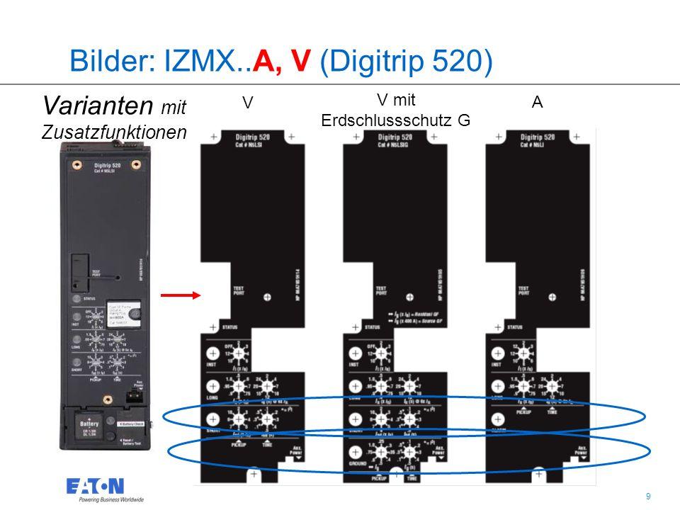 20 IZMX16 und IZMX40 Leistungsschalter Digitrip Auslöseelektroniken Auslöseelektroniken: Gleiche Funktionen für alle Auslöser 3.