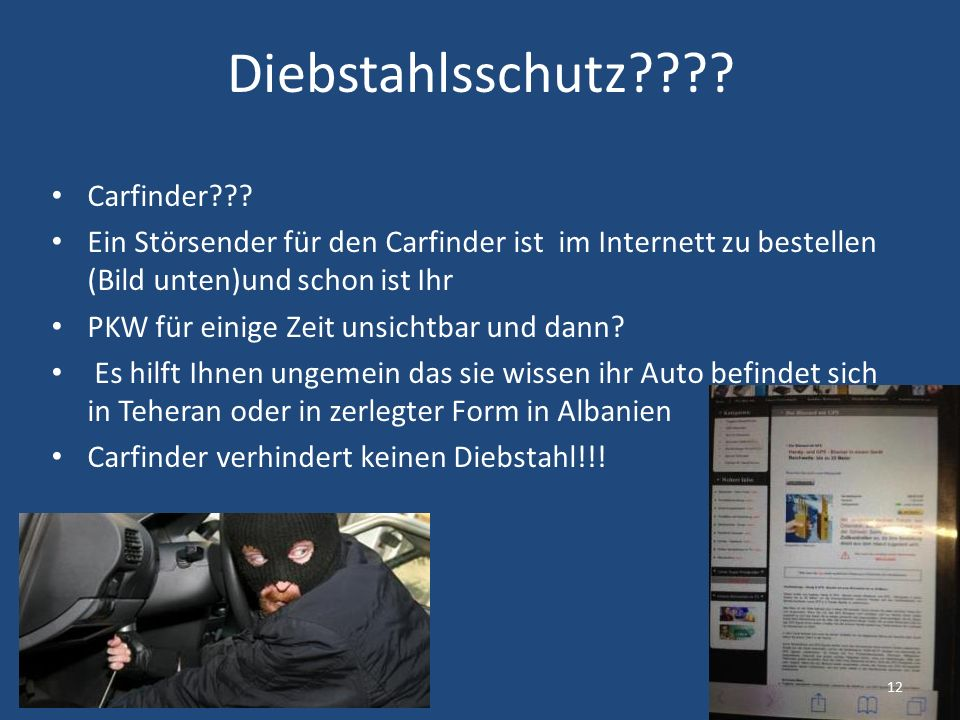 Diebstahlsschutz . Carfinder .