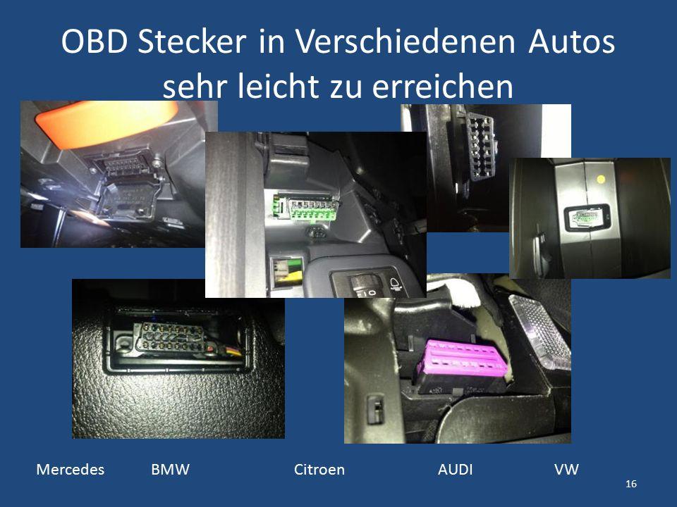 OBD Stecker in Verschiedenen Autos sehr leicht zu erreichen Mercedes BMW Citroen AUDI VW 16