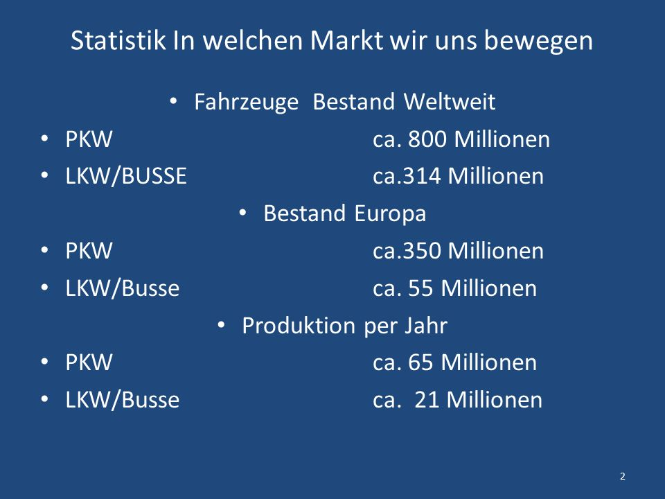 Statistik In welchen Markt wir uns bewegen Fahrzeuge Bestand Weltweit PKW ca.