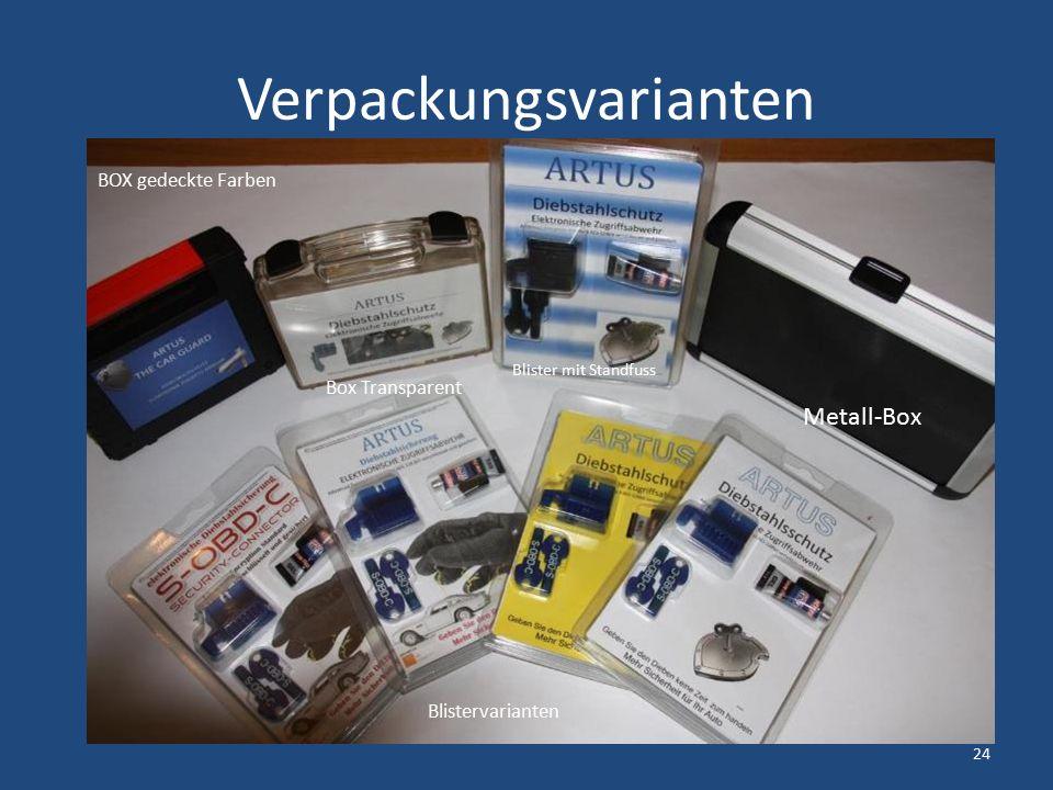 Verpackungsvarianten Blistervarianten BOX gedeckte Farben Box Transparent Blister mit Standfuss Metall-Box 24