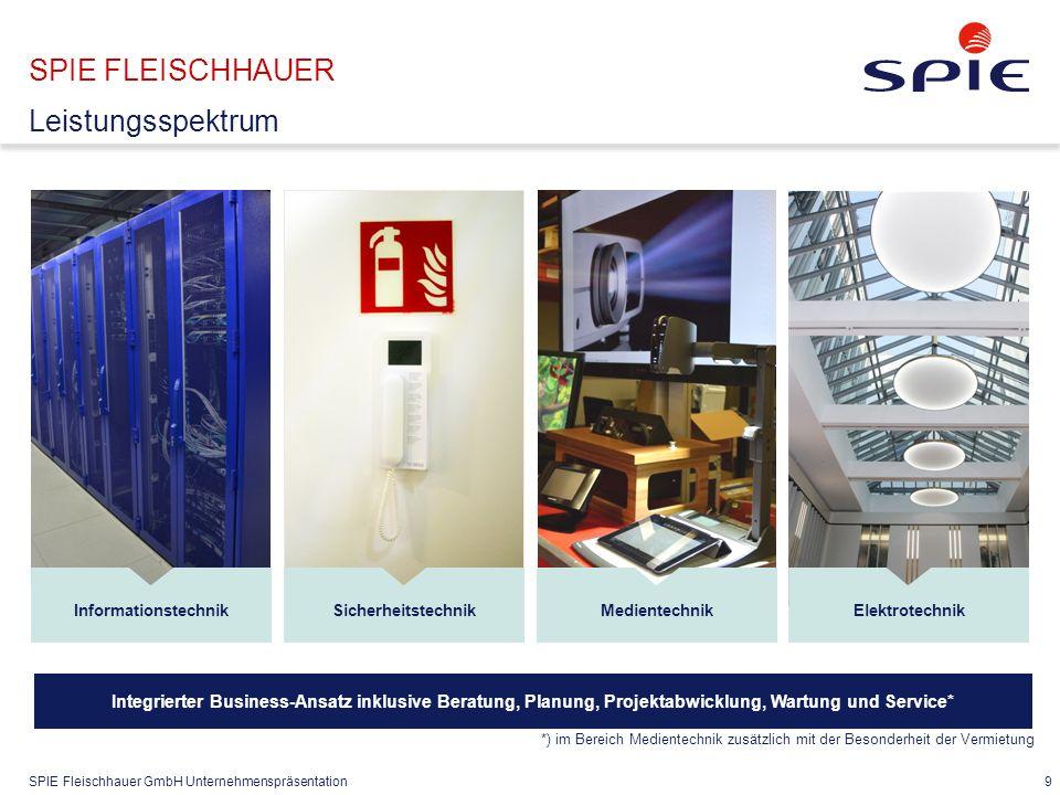 SPIE Fleischhauer GmbH Unternehmenspräsentation 9 SPIE FLEISCHHAUER Leistungsspektrum InformationstechnikMedientechnikElektrotechnikSicherheitstechnik