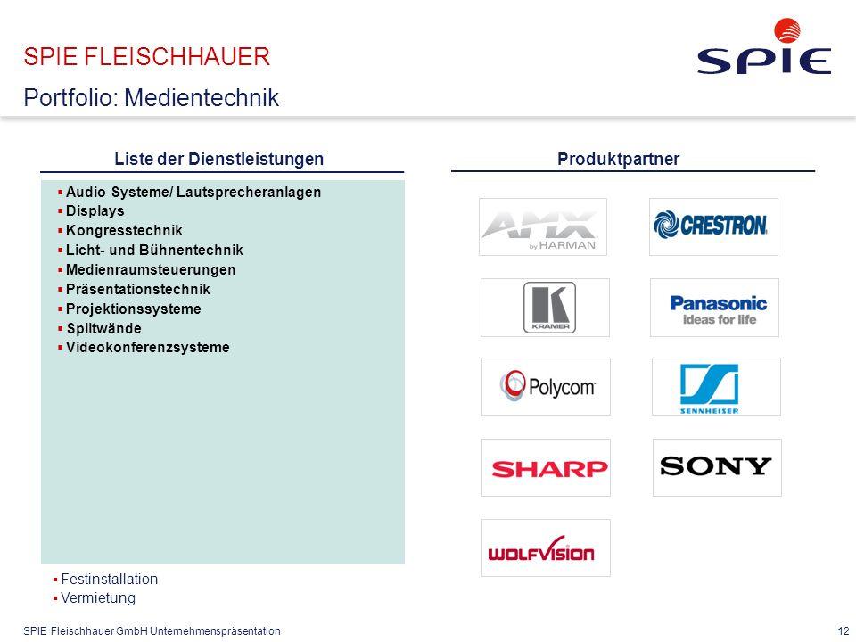 SPIE Fleischhauer GmbH Unternehmenspräsentation 12 SPIE FLEISCHHAUER Portfolio: Medientechnik  Audio Systeme/ Lautsprecheranlagen  Displays  Kongre