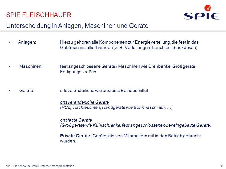 SPIE Fleischhauer GmbH Unternehmenspräsentation 20 Anlagen: Hierzu gehören alle Komponenten zur Energieverteilung, die fest in das Gebäude installiert